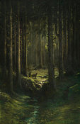 Gustave Doré - Deer in a Pine Forest (Vosges), ca. 1865