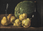 Luis Meléndez - Pears and a Melon, with a Wine Bottle and a Glass on a Table, ca. 1770
