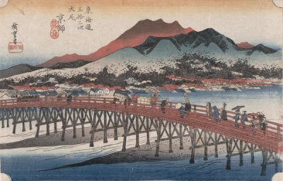 Utagawa Hiroshige - The Great San-Jo Bridge in Kyoto, c. 1833-1834