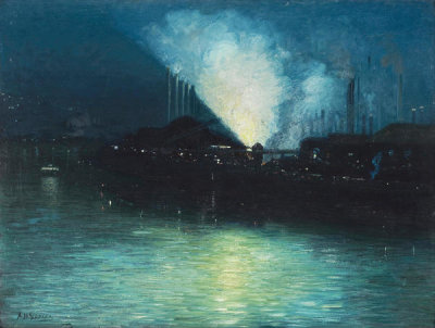 Aaron Henry Gorson - Pittsburgh at Night, ca. 1920