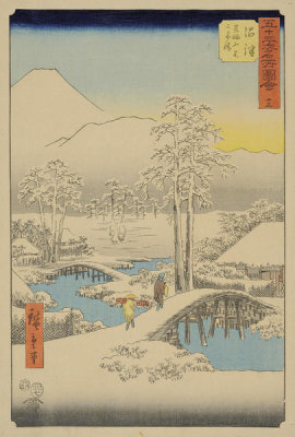 Utagawa Hiroshige - Numazu: Fuji in Clear Weather after Snow, 1855