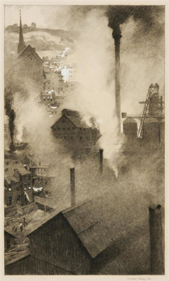 Thornton Oakley - Jones and Laughlin Steel Mill, Pittsburgh, 1913